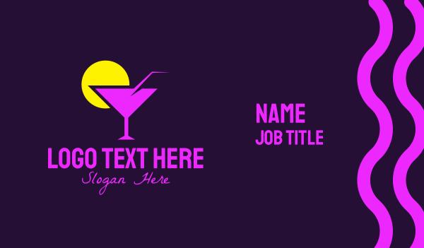 booze - Purple Cocktail Bar Business card horizontal design