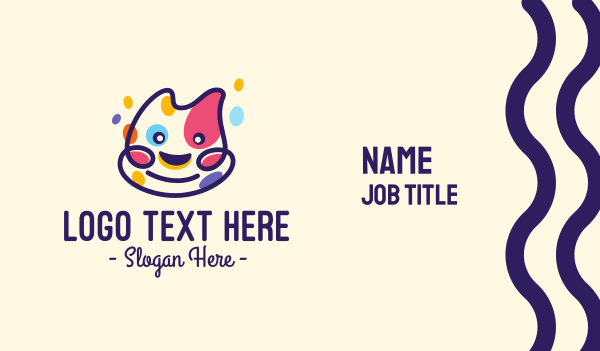 pussycat - Colorful Spotted Happy Cat Business card horizontal design