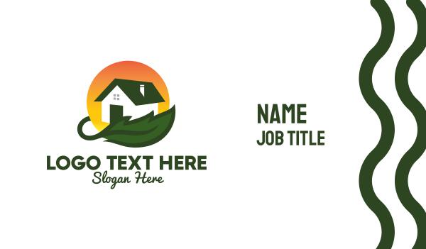 solar power - Green Living Home Builder  Business card horizontal design