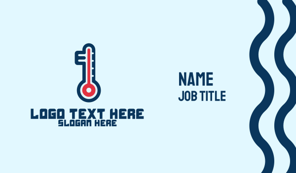 thermometer - Modern Digital Thermometer  Business card horizontal design