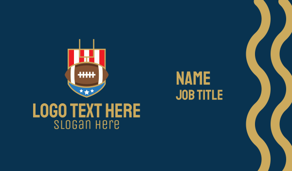 shield - American Football Gridiron Business card horizontal design
