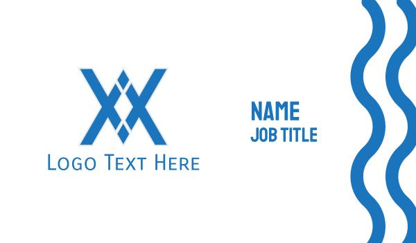 athens - Blue Diamond Letter X Business card horizontal design