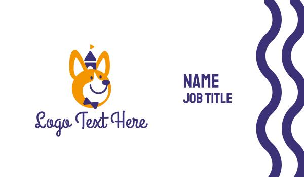 dog walker - Smiley Corgi Business card horizontal design