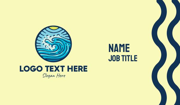 ocean current - Ocean Beach Surf Waves Business card horizontal design