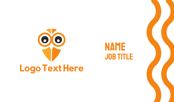 orange bird - Owl Eyes Business card horizontal design