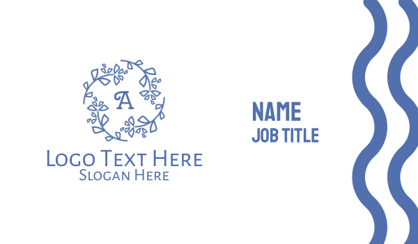 blue leaf - Blue Wreath Lettermark Business card horizontal design