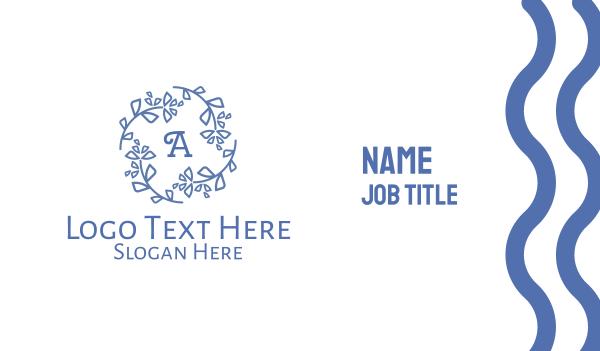 refrigerator - Blue Wreath Lettermark Business card horizontal design