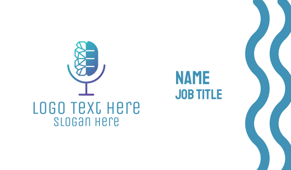radio - Podcast Microphone Brain Business card horizontal design
