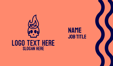 Blue Flame Skull Business Card
