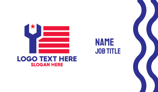 banner - Patriotic Wrench Business card horizontal design