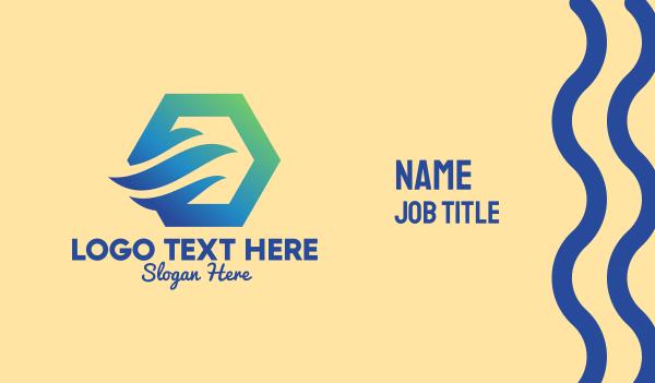 travel agent - Cooling Breeze Hexagon Business card horizontal design
