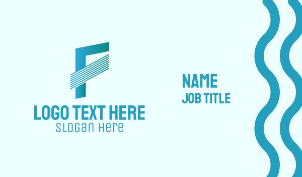 striped - Blue Line Motion Letter F Business card horizontal design