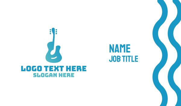 blue note - Blue Guitar Note Business card horizontal design
