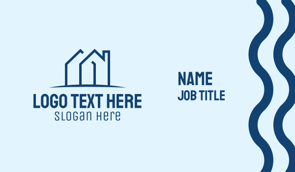 roofing service - Blue Realty Letter M Business card horizontal design