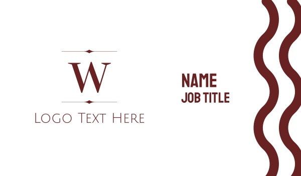 classy - Maroon W Business card horizontal design