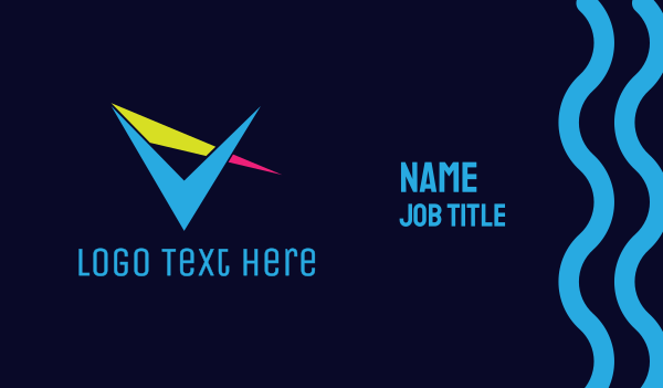 channel - Sharp Colorful V Business card horizontal design