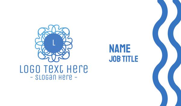 decoration - Blue Gradient Stroke Flower Business card horizontal design