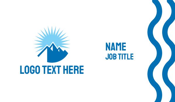 blue sun - Blue Sunny Mountain Business card horizontal design