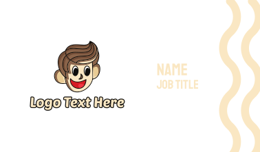Happy Brown Haired Cartoon Boy Business Card