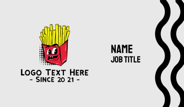 Cartoon French Fries Chips Business Card