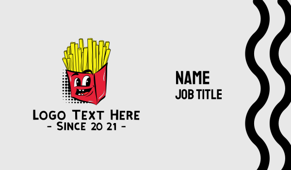fast food - Cartoon French Fries Chips Business card horizontal design