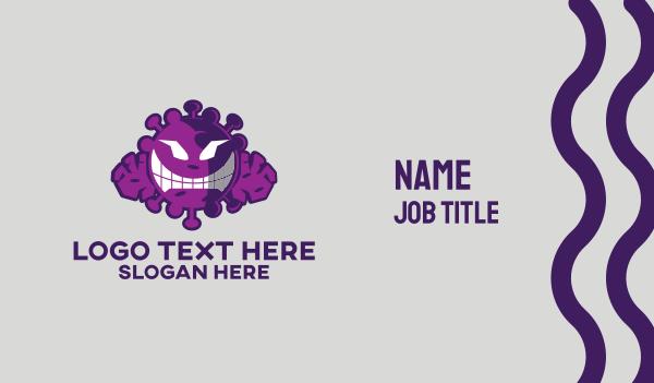 sars - Evil Virus Character  Business card horizontal design