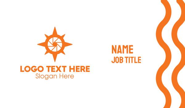 orange camera - Photo Compass Business card horizontal design
