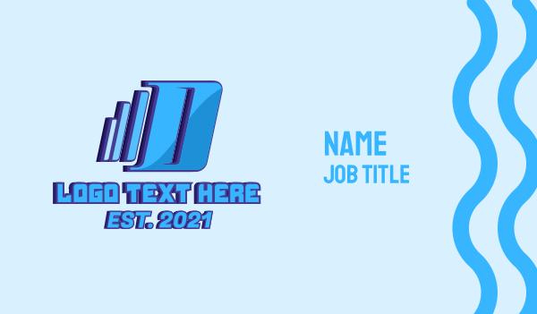 removal - Blue Moving Letter D  Business card horizontal design