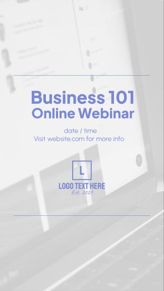 Business 101 Webinar Facebook story