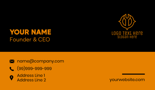 tracker - Wrench Location Compass Business card horizontal design