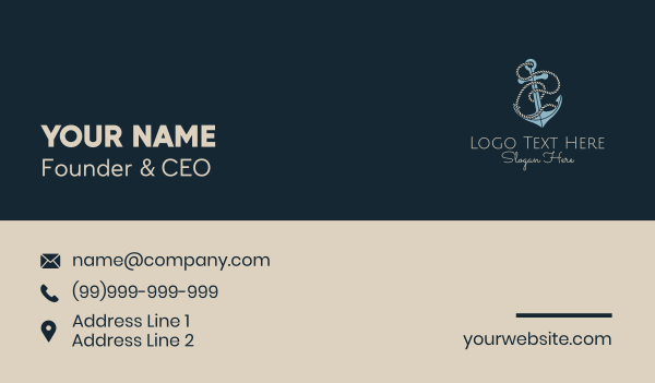 c - Anchor Rope Letter C Business card horizontal design