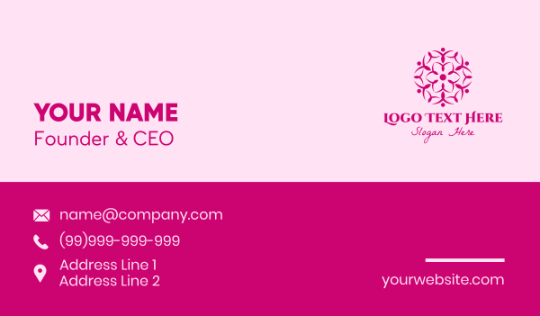 lotus - Pink Flower Spa Business card horizontal design