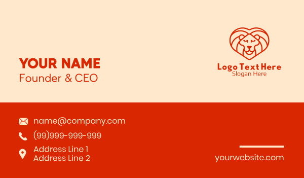 Heart Lion Mane Business Card