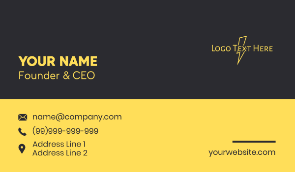 energy company - Thunder Bolt Wordmark  Business card horizontal design