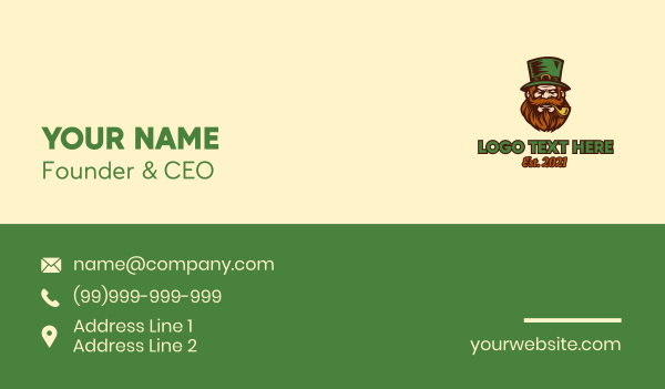 pipe - Angry St. Patrick Costume Business card horizontal design