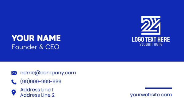 number - Geometric Number 24  Business card horizontal design