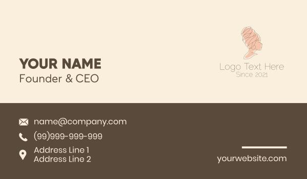 haircare - Minimalist Turban Woman Business card horizontal design