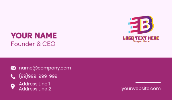 motion - Speedy Letter B Motion Business card horizontal design