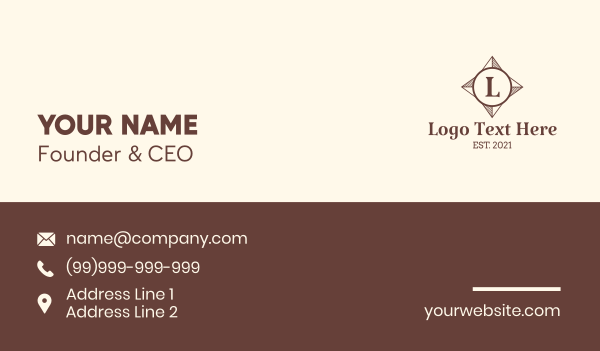 travelling - Direction Compass Letter Business card horizontal design