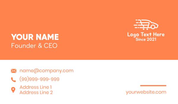 cart - Grocery Delivery Business card horizontal design