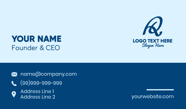 toy store - Blue Handwritten Letter R  Business card horizontal design