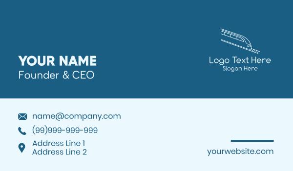 railroad - Blue Bullet Train Business card horizontal design