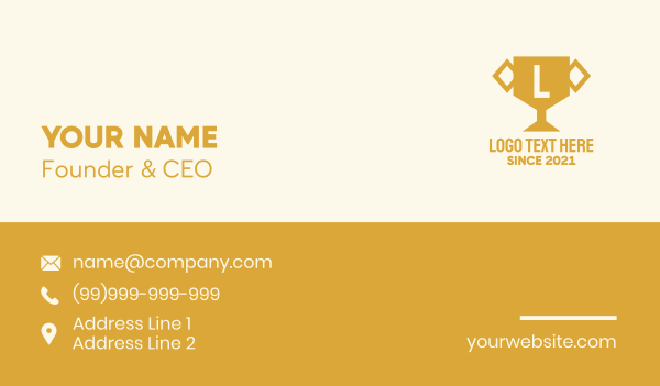 champion - Gold Trophy Letter Business card horizontal design