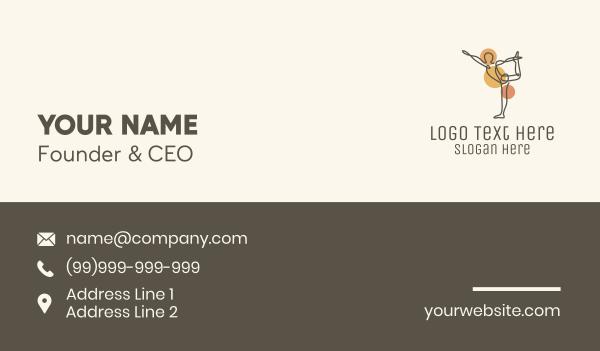 gymnast - Dancer Pose Yoga Monoline Business card horizontal design