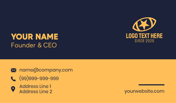 sheriff - Yellow Star Football Ball Business card horizontal design