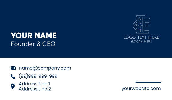 leasing - Geometric Apartment Building Business card horizontal design