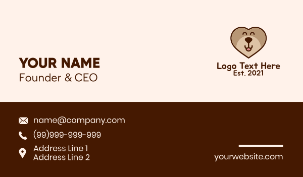 puppy school - Bear Heart Kids Apparel  Business card horizontal design