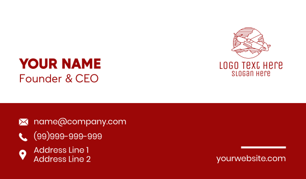 air freight - Plane Monoline Badge Business card horizontal design