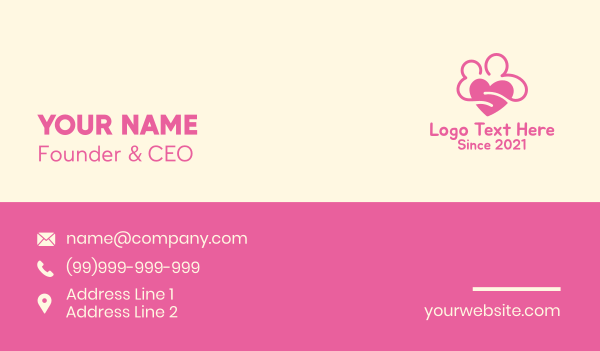 Pink Lovely Couple Business Card