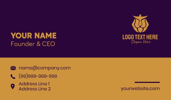 safari park - Gold Eagle Lion  Business card horizontal design